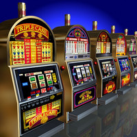 6 Low Poly Round-Top Slot Machines