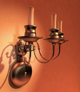 3d model lighting sconce candlestick