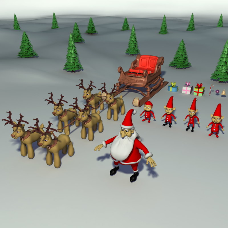 christmas dwarfs pines 3d model