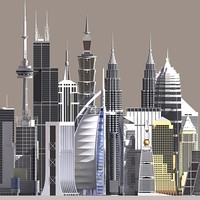 skyscraper buildings world 3d max