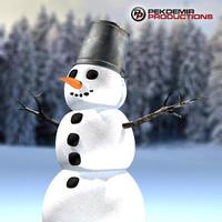 maya snowman bucket coals