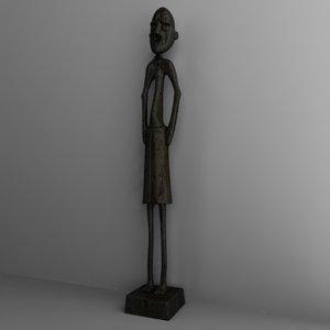 african statuette 3d 3ds