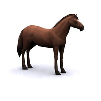 Horse low polygonal, textured.