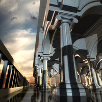 columned terrace 3d model