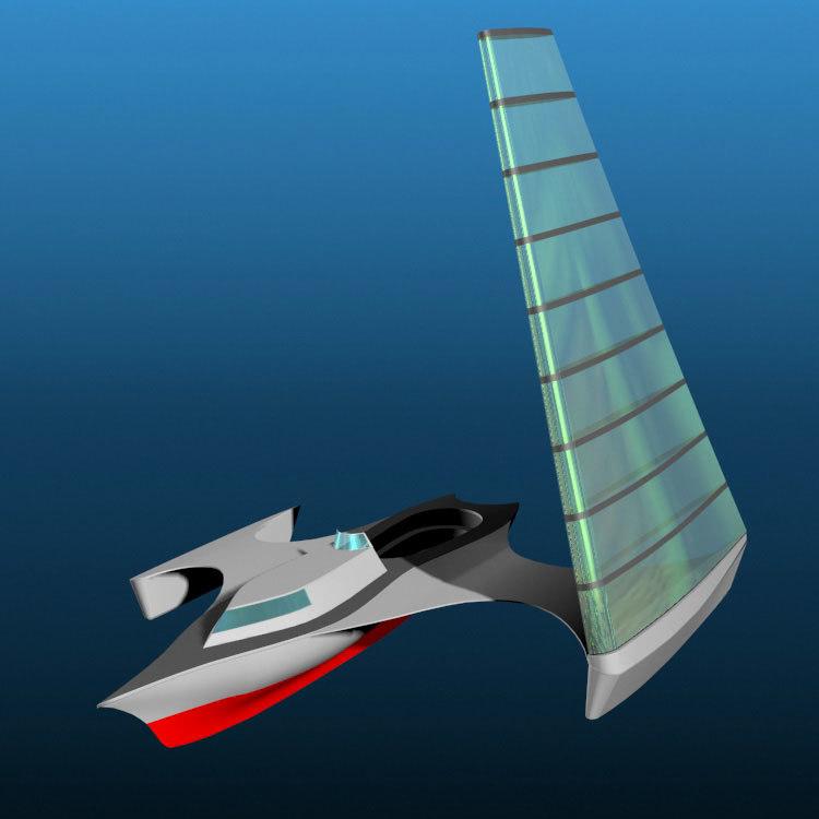 3d futuristic trihull sailboat pztrihull model