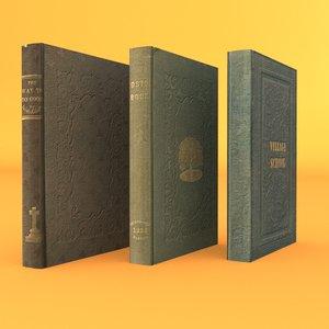 3 old rare books 3d obj