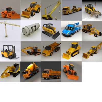 truck bulldozer crane loader 3d model