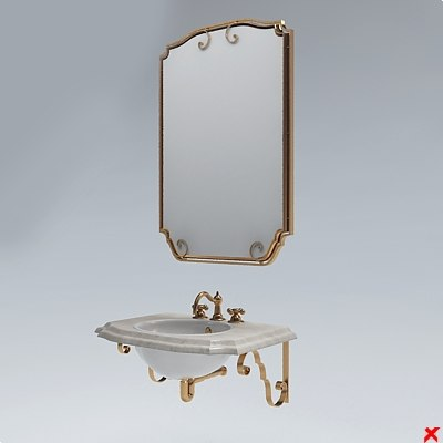 3d sink basin mirror model