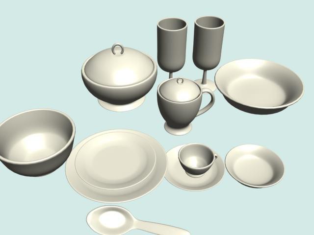 3d model dinner ceramic