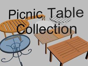 3d picnic tables model