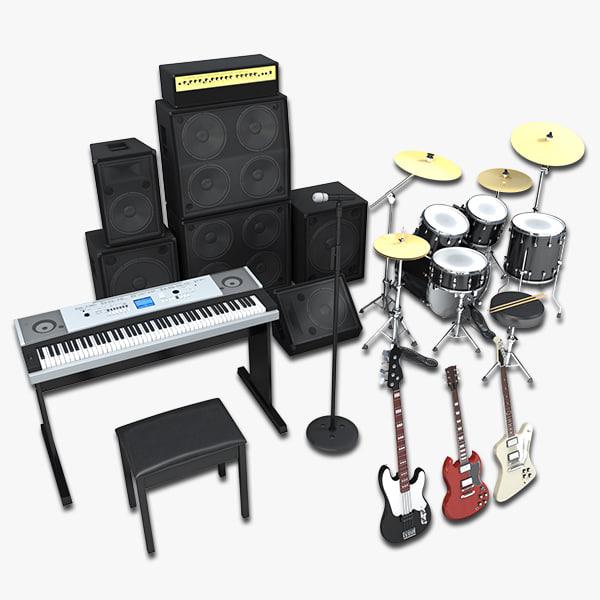 3d band rock guitar