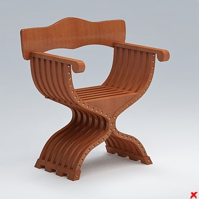3d model of chair old fashioned