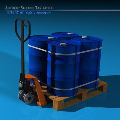 pallet truck barrels 3d model