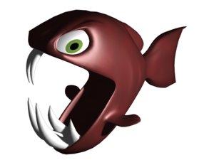 fish pirana 3d max