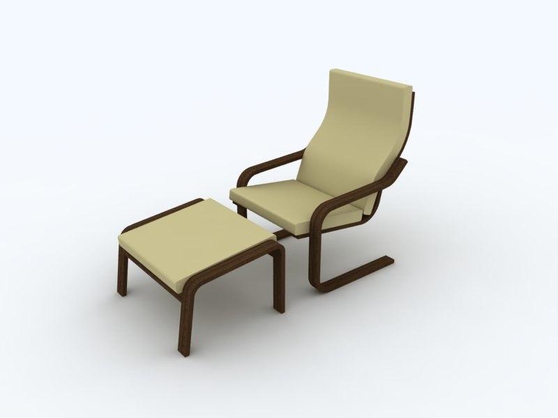 apartment lounge chair ottoman 3d 3ds