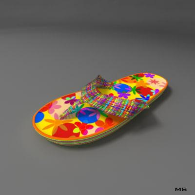 orange slipper 3d model