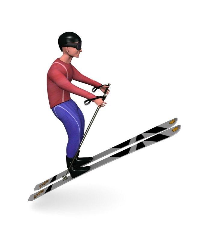 3d model skier polygonal