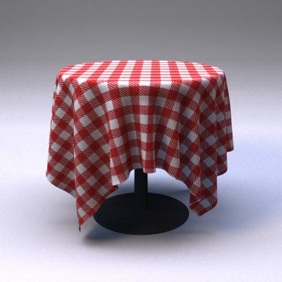 3d model restaurant tablecloth table