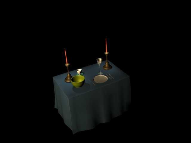 free table setting 3d model