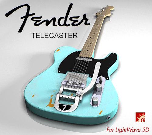 3d fender telecaster lightwave electric guitar