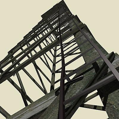 tower wood 3d model