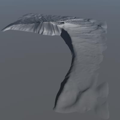 3d terrain cliff model