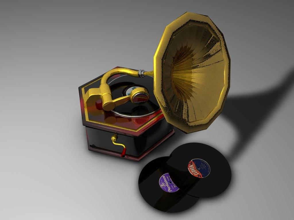 3d antique gramophone model