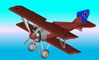 3d model german biplane