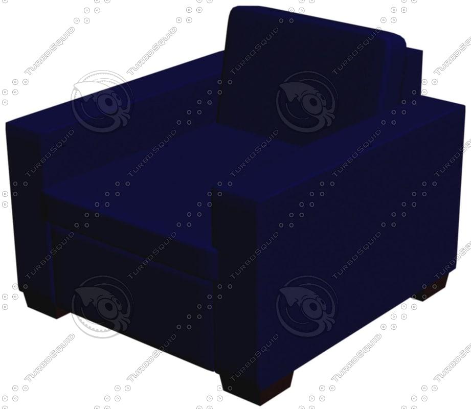 3d blue modern chair model