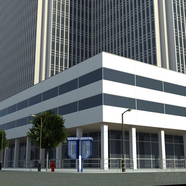 3d office block build city