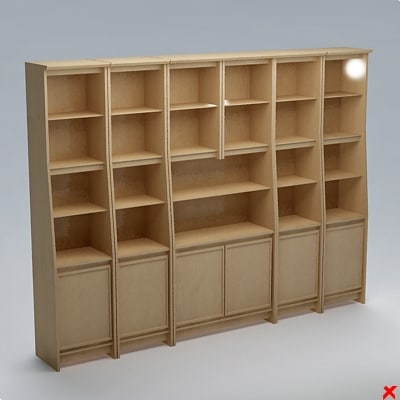 bookcase cabinet 3d dxf