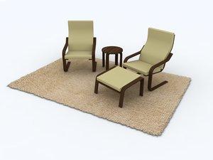 apartment furniture set 3d model