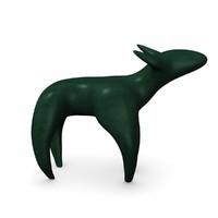 3d dog statuette model