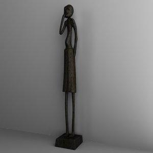 statuette african 3d 3ds