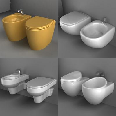 3d toilets bidets model