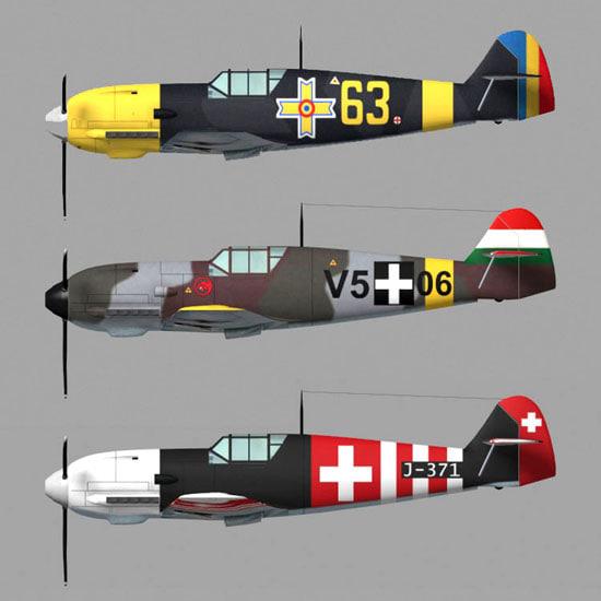 bf109 fighter plane pzbf109 3d pz3