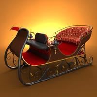 santa sleigh 3d model