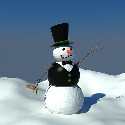 3d model of snowman silk hat
