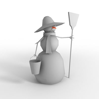 free sad snowman 3d model