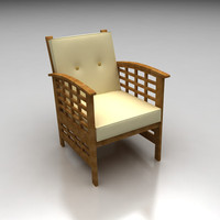 High-poly outdoor wooden chair
