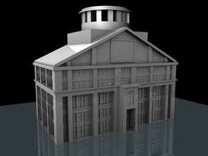 3d model downtown city hall building