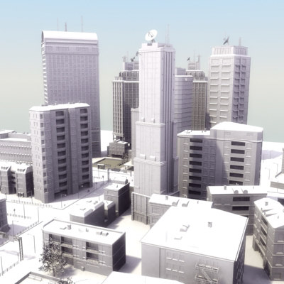 city buildings street 3d lwo