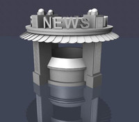 3d art deco newsstand news model