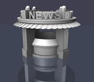 3d art deco newsstand news model