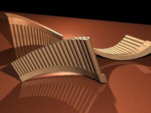 3d panpipe musical instrument
