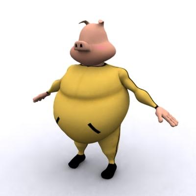 anthropomorphic pig 3d 3ds
