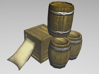 3d pack barrels crate model