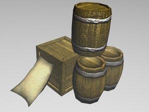 3d pack barrels crate model