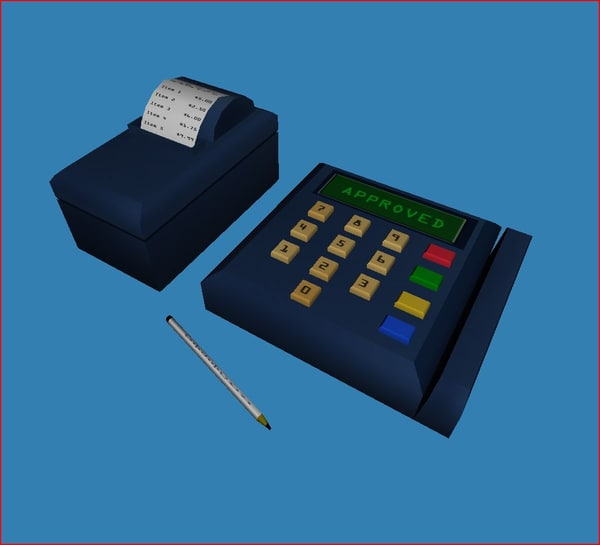 credit card processing equipment 3d obj