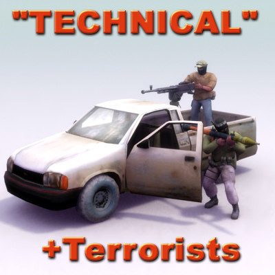3d model pickup technical terrorist vehicle